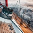 Постер, плакат: Sail boat under the storm detail on the winch
