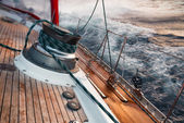 Sail boat under the storm, detail on the winch — Photo