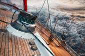Sail boat under the storm, detail on the winch — Stockfoto