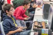 Vintage video games at Games Week in Milan — Stock Photo