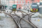 Modern trains in railway station — Stock Photo