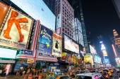 NEW YORK CITY - JUNE 12, 2015: Times Square at night featuring lighted billboards of the broadway best show — Stock Photo