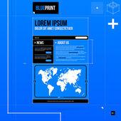 Template in blueprint style — Cтоковый вектор