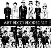 Art deco people set. — Stock vektor