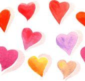 Watercolor doodle hearts seamless pattern. — Vector de stock