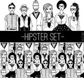 Hipster people set. — Stock Vector