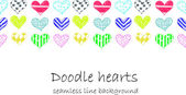 Colorful doodle hearts seamless line. — Stock Vector