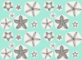 Doodle starfish seamless pattern — Stock Vector