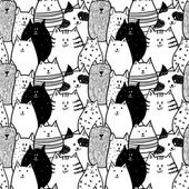Doodle funny cats seamless pattern — Stock Vector