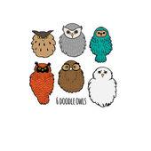 Cute doodle owls — Stock Vector