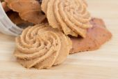 Cookies on wooden table background close up — Stock Photo