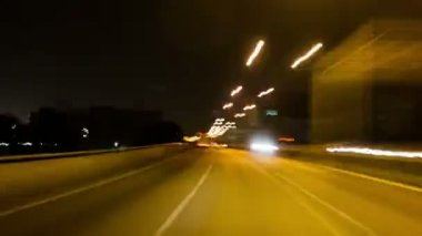 City driving at night time Time Lapse HD — Stock Video