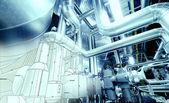 Esboço do projeto de tubulação misturado com foto de equipamento industrial — Foto Stock