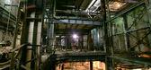 Old creepy, dark, decaying, destructive, dirty factory — Stock Photo