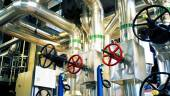 Industrial zone, Steel pipelines and pumps — Stock Photo