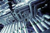 Industrial zone, Steel pipelines and equipment in blue tone — Stock Photo
