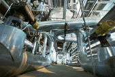 Industrial zone, Steel pipelines, valves and cables — Stock Photo