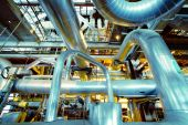 Industrial zone, Steel pipelines, valves and cables — Foto de Stock
