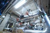 Industrial zone, Steel pipelines, valves and pumps — Stock Photo