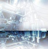 Industrial zone, Steel pipelines in blue tones  with reflection — Stock fotografie