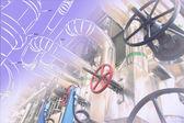 産業機器の写真と混合配管設計のスケッチ — ストック写真