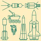 Linear set of icons relating to space exploration.  — Stock Vector