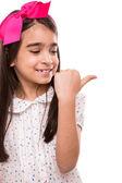 Girl doing thumbs right — Stock Photo