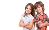 Kids posing over white — Stock Photo