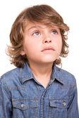 Kid thinking over white — Stock Photo