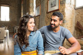 Couple at cafe — Stock Photo