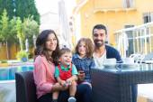 Family close to the pool — Stock Photo