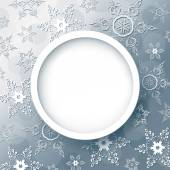 Abstact invierno gris con copos de nieve — Vector de stock