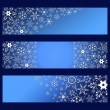Set of banners blue with 3d white snowflakes — Stock Vector #54698553