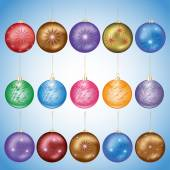 Set of glass christmas balls — Stock Vector