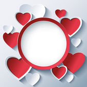 Valentines day background, frame with 3d hearts — Stockvektor