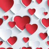 Valentines day seamless pattern with red - grey 3d hearts — Vector de stock