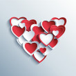 Valentines day card with red and white 3d hearts — Stock Vector #58368345