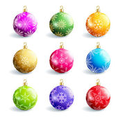 Set of beautiful colorful christmas balls isolated — Stock Vector