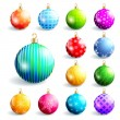 Set of colorful christmas and new year balls — Stock Vector #58748057