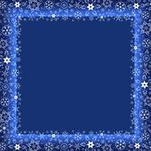 Winter dark blue frame with white snowflakes — 图库矢量图片