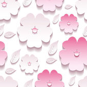 Floral background seamless pattern, pink 3d sakura blossom — Stock Vector