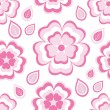 Seamless pattern with pink flowers sakura and leaves — Stock Vector #70532565