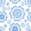 Seamless pattern with blue flowers sakura and leaves — Stock Vector #70532567