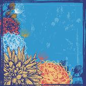 Hand drawn dahlia flowers retro card — Stock Vector