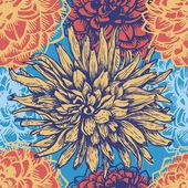Hand drawn dahlia flowers retro seamless pattern — Stock Vector