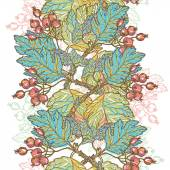 Hand drawn vintage floral vertical  seamless border — Vector de stock
