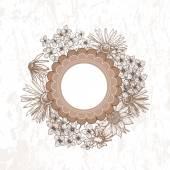 Tender flowers vintage vignette — Stock Vector