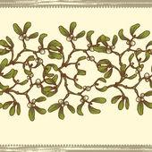 Hand drawn  mistletoe  twigs seamless border — Stock Vector