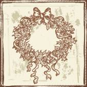 Hand drawn sketch of Christmas wreath — Stock Vector