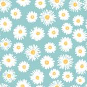 Simple daisy flowers seamless pattern — Stock Vector